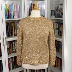 Sweaters - Gold Sparkly Fuzzy Medium Weight Crew Neck Sweater